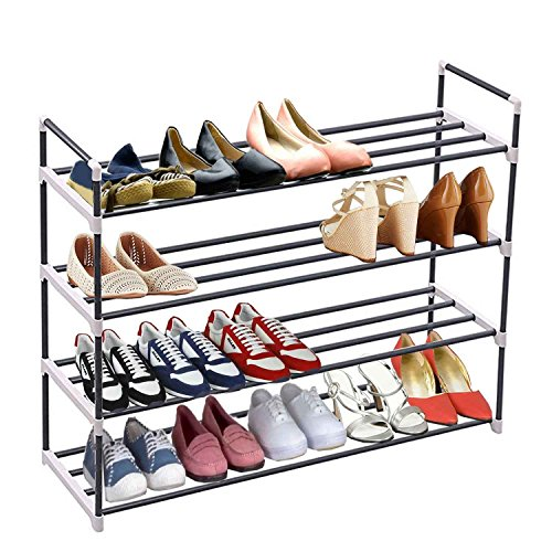 4-Tier shoe rack organizer storage bench stand for mens womens shoes closet with iron shelves holds 20 pairs. Hot shoe racks with four tiers metal shelf & easy assembly with no (Five Basket Pull Out Pantry)