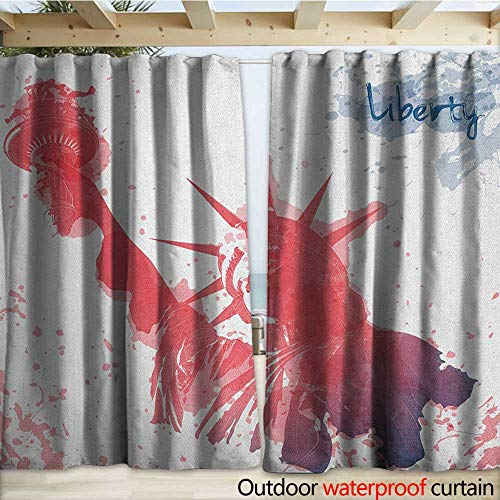 warmfamily 4th of July Outdoor Waterproof Curtain Watercolor Lady Liberty Silhouette with Paint Splashes Independence W120 x L108 Dark Coral Pale Blue