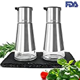 oil and vinegar cruet set - Oil Dispenser - VAKOO Stainless Steel Olive Oil and Vinegar Cruet Dispenser Set - BPA-free Leak-proof Glass Oil Bottles - Best Cooking Oil Container for Kitchen