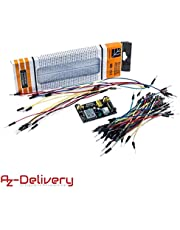 AZDelivery MB-102 Breadboard Kit - Breadboard with 830 contacts Power Supply 3.3V 5V 65pcs Jumper Wire Set for Arduino including eBook