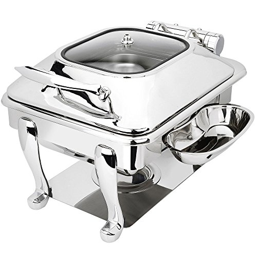 Eastern Tabletop 3964GS Crown 4 Qt. Stainless Steel Square Induction Chafer with Freedom Stand and Hinged Glass Dome Cover