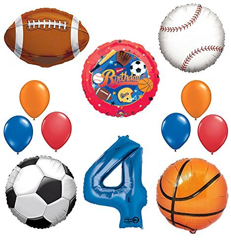 The Ultimate Sports Theme 4th Birthday Party Supplies and Balloon Decorating Kit Mayflower