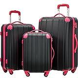 Merax Travelhouse 3 Piece Spinner Luggage Set with TSA Lock (Black & Rose)