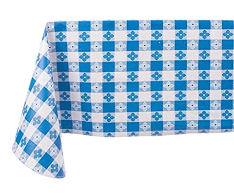 Yourtablecloth Checkered Vinyl Tablecloth with Flannel Backing for Restaurants, Picnics, Bistros, Indoor and Outdoor Dining 52x52 Square, Blue and (White Bistro Dining Table)