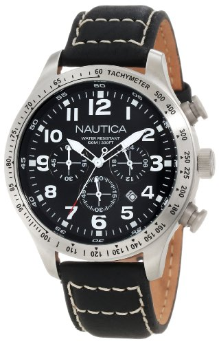 Nautica N17616G Stainless Steel Leather
