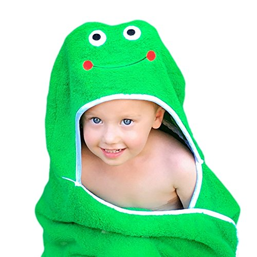"Frog Face Hooded Kid Towel (Green), 27.5"" x 49"", Plush and Absorbent Luxury Bath Towel! 600 GSM, 100% Cotton by Ultra-Homes"