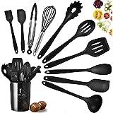 Juego de utensilios de cocina, juego de utensilios de cocina con soporte, utensilios de silicona para cocinar, juego de espát