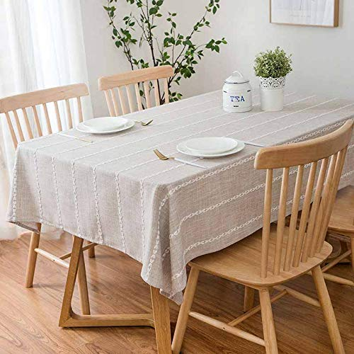 2018 Cotton Linen tablecloth for kitchen Nordic Rectangular Dinning Table Cover striped wedding party table cloth  Color 1 B07S8B4C2P