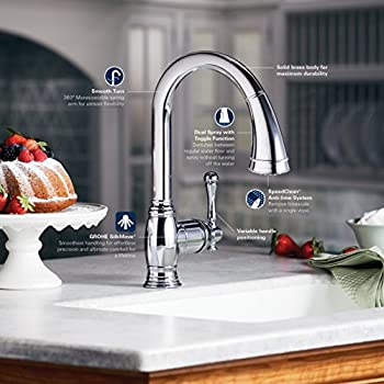 Grohe 33870EN0 Bridgeford Pull-Down Spray Kitchen Faucet, Brushed Nickel