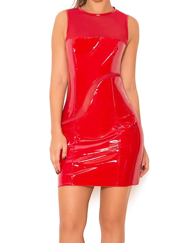 Whoinshop Damen Rot Bodycon Kleid Strecken Figurbetontes PartyKleid Festlich Cocktailkleider