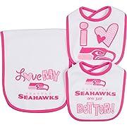NFL Seattle Seahawks Girls 2 Dribbler Bibs & 1 Burp Cloth Set, One Size, Pink