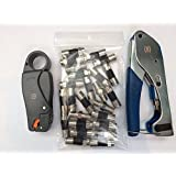 Compression Tool Kit - Compression Tool, Cable Stripper, RG6 Connectors and F81 Coaxial Joiners