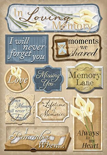 KAREN FOSTER Design Acid and Lignin Free Scrapbooking Sticker Sheet, in Loving Memory