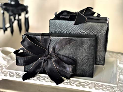 """Black Faux Leather Gift Wrap Paper for Large Presents 