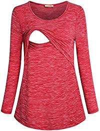 Women's Loose Comfy Layered Nursing Top and Shirts For Breastfeeding