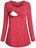 Baikea Nursing Tunic, Women Spring Casual Long Sleeve Breastfeeding Tee Shirt Stretchy Layering Flattering Home Wear Casual Comfy Maternity Nursing Tops Space Red M