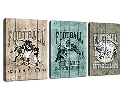 arteWOODS Small Canvas Wall Art Football Basketball Nebula Artwork Group for Home Wall Decorations
