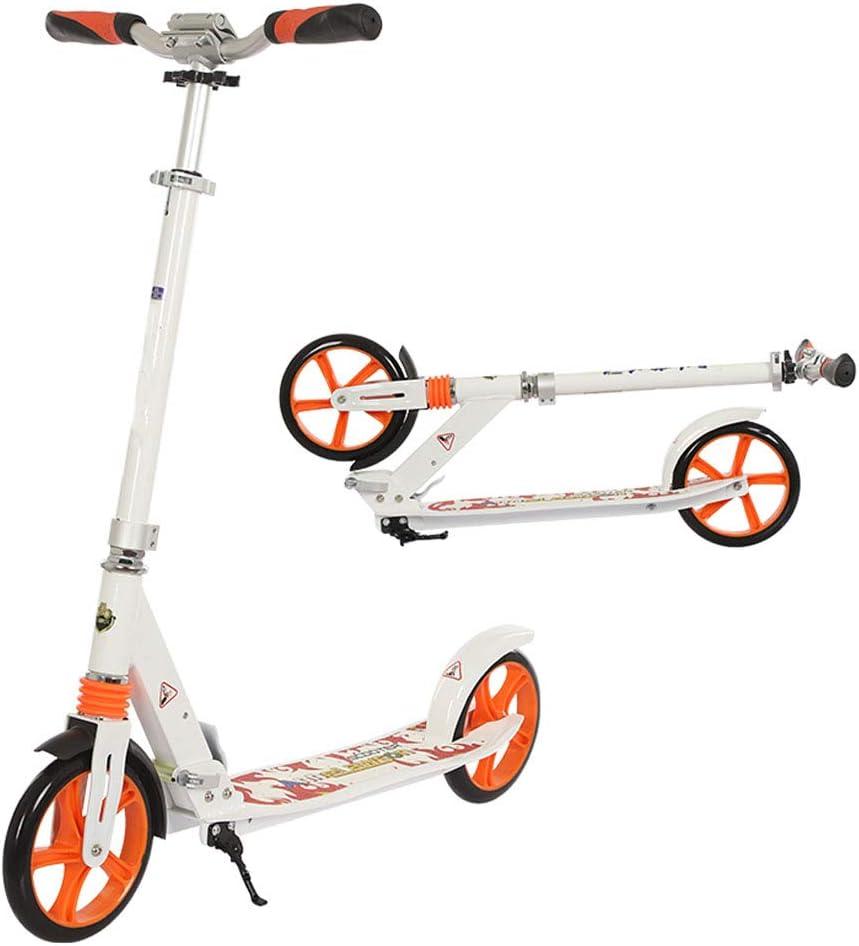大人の青少年の子供のための折りたたみスクーター、ビッグホイール200ミリメートルスクーターティーンキックスクーター、通勤スクーター、子供のためのシティスクーター誕生日プレゼント8歳以上、サポート100kg(220ポンド) 白い