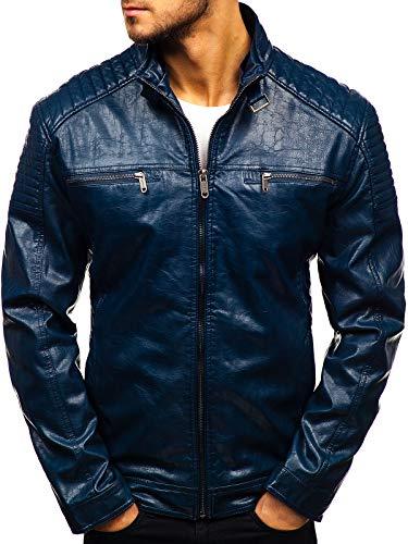 Casual Capuche Écologique En Fermeture Blouson ex703 Homme Veste Bolf Bleu Foncé Cuir Éclair 4d4 q1Rfwz4