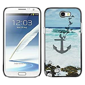 LASTONE PHONE CASE / Slim Protector Hard Shell Cover Case for Samsung Note 2 N7100 / Blue Sea Waves Art Beach