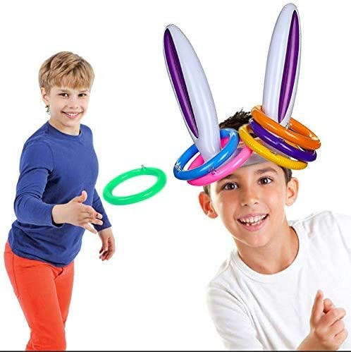 Indoor and Outdoor Game for Easter Party Supplies Inflatable Toss Game JOYIN Inflatable Bunny Rabbit Ears Ring Toss Game 2 Set /&12 Rings