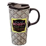 Cypress Home Bossy Ceramic Travel Coffee Mug, 17 ounces