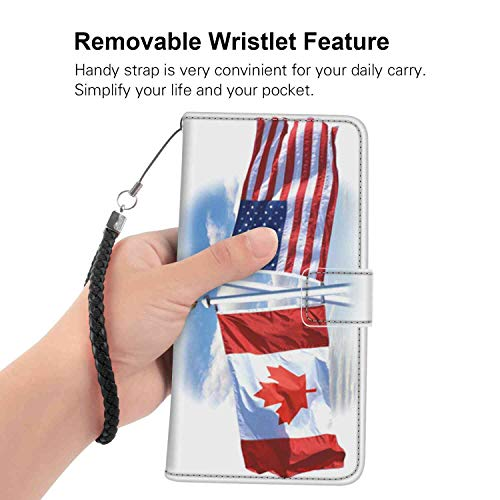 USA-Canada Flag Wallet Case Fits for Samsung Galaxy S9 Plus 6.2