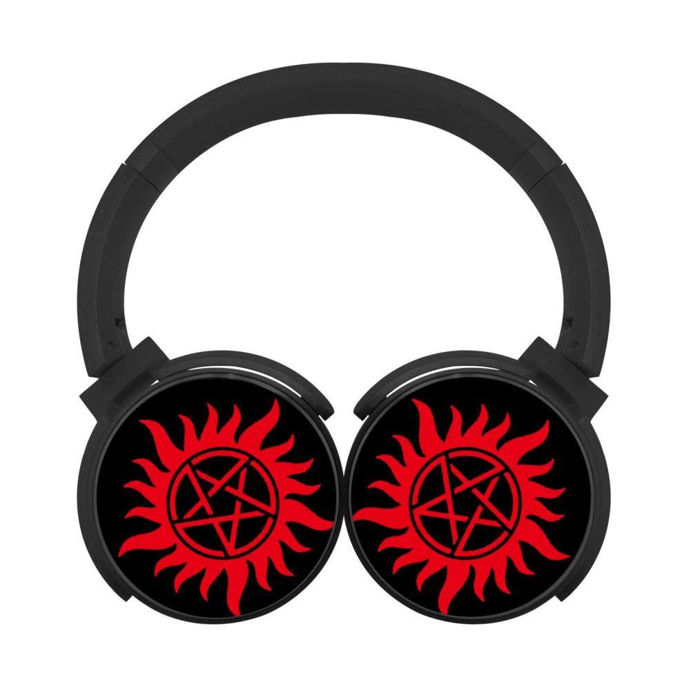 Mobile Wireless Bluetooth Headset 2019-Supernatural-Logo Flag 3D Printing Over Ear Headphones Black