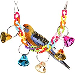 Mrli Pet Bird Swing Toys Hanging Hammock Colourful Ringer Bells Bird Cage Accessories for Small Parrots Parakeet Cockatiels Cockatoo Conure Lovebird Finch Perch Toy