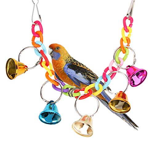 Embiofuels(TM) 1PC Acrylic Pet Bird Bell Toys Chew Cage Hanging Ladder Swing Ringer Toys for Bird Cockatiel Parakeet Pet Parrot Products ()