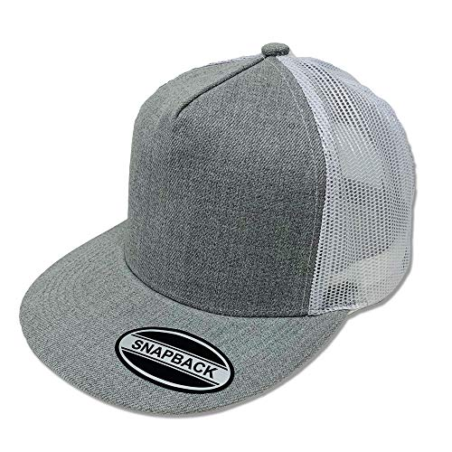GREAT CAP Blank Trucker Hat - Classic Flat Bill Visor Baseball with Mesh Snapback for Hot Weather, Summer, Outdoor, Running, Car Driving, Vacation, Fishing, Sport, Daily - Heather Grey/White ()