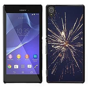 Julio Día de la Independencia de los fuegos artificiales de Año Nuevo- Metal de aluminio y de plástico duro Caja del teléfono - Negro - Sony Xperia T3