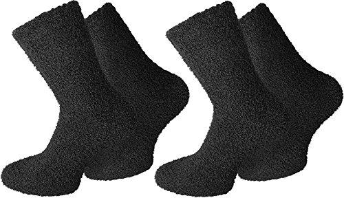 2 Paar normani® Cuddly Socks Kuschelsocken in verschiedenen Farben Farbe Uni/Schwarz Größe 39/42
