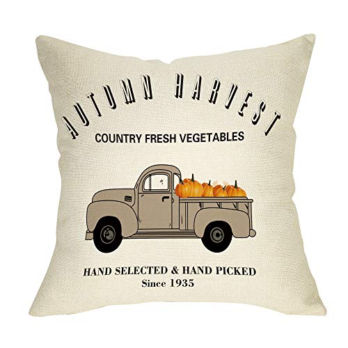 Softxpp Autumn Harvest Pumpkin Decoration Fall Farmhouse Throw Pillow Cover Thanksgiving Day Vintage Truck Sign Home Decor Cushion Case Decorative for Sofa Couch 18