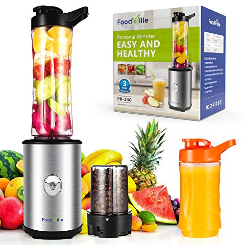 Foodville PB230 2 in 1 Personal Smoothie Blender and Electric Coffee Grinder with 20oz + 10oz Travel Bottles, 2 Drinking Lids and Grinder Jar