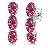 3.30 Ct Oval Pink Mystic Topaz 925 Sterling Silver 3-Stone Earrings