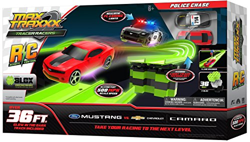 Max Traxxx R/C Tracer Racers High Speed Remote Control 'Police Chase' Officially Licensed Ford Mustang vs Chevy Camaro Track Set Mustang Boy Racer