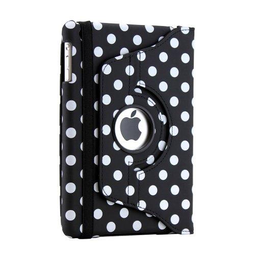 Gearonic TM 360 Degree Rotating Stand Smart Cover PU Leather Swivel Case for Apple iPad Mini and 2013 iPad Mini with Retina Display (Wake/sleep Function) - Black/White Polka Dot