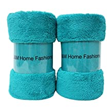 "Bright Fleece Throw Blanket 50x60"", Set of 2, Reversible Fuzz Soft Warm Breathable Fluffy for Bed, Chair, Couch, Picnic, Camping, Beach, Travel-Teal"