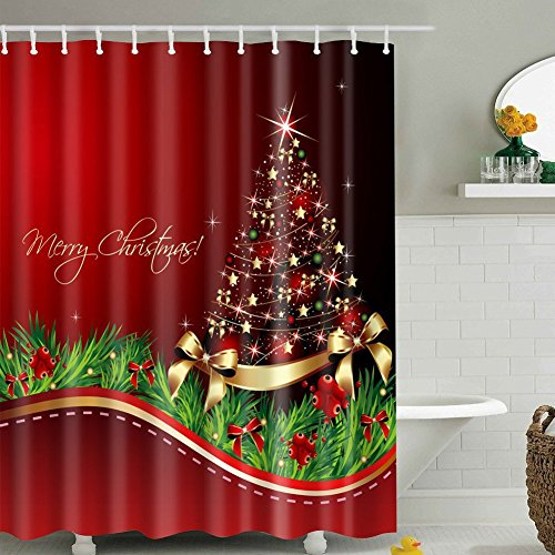 Christmas Tree Shower Curtain Sets, Merry Christmas Shining Santa Tree Print, Waterproof Polyester Fabric Decor Bathroom Curtains, Red,Green,Gold,72 x 72 inch BROSHAN (Christmas A)