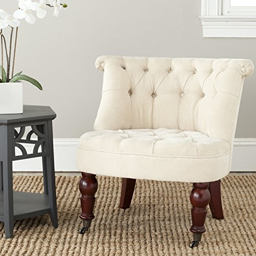 (Safavieh Mercer Collection Carlin Tufted Chair, Natural Cream)