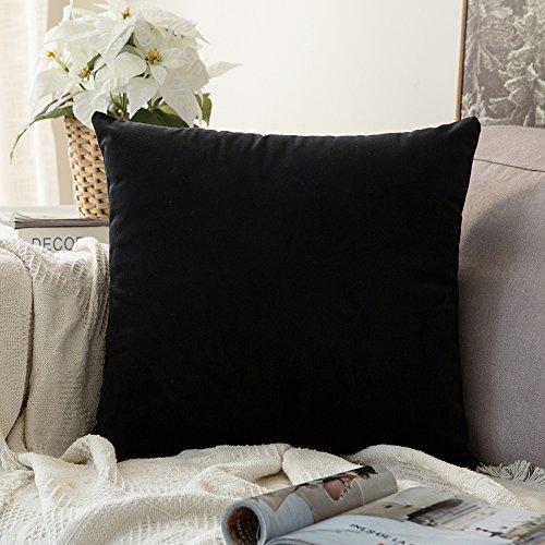 MIULEE Velvet Pillow Covers Decorative Square Pillowcase Soft Soild Black Cushion Case for Sofa Bedroom Car 22 x 22 Inch 55 x 55 cm (Velvet Throw Black Pillows)