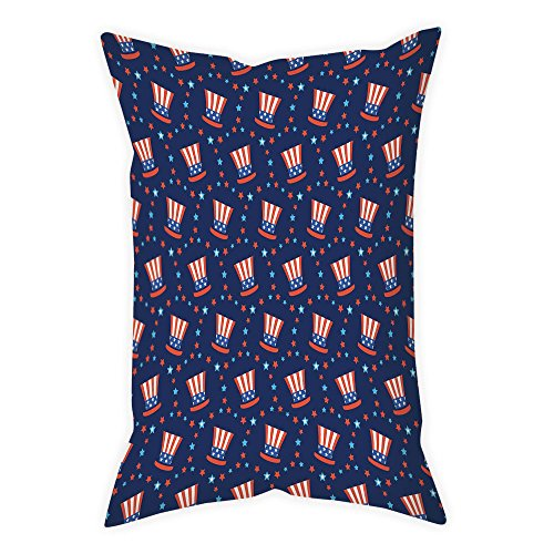 Sams Club Rugs - iPrint Cotton Linen Throw Pillow Cushion Cover,USA,Uncle Sam Hats American Culture Celebration Independence Anniversary Concept Decorative,Navy Blue White Red,Decorative Square Accent Pillow Case