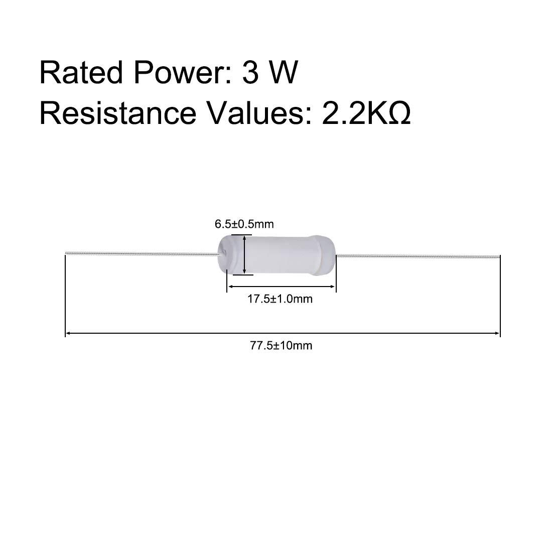sourcing map 40Stk 3W 3 Watt Metalloxid Schicht Widerstand Axiales Leitung 2,2K Ohm /±5/% Toleranz