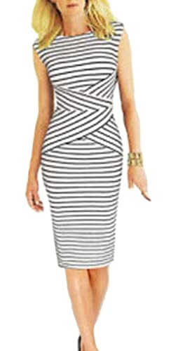 BAIMIL Women Striped Curvy Summer Wear to Work Casual Party Pencil Dress