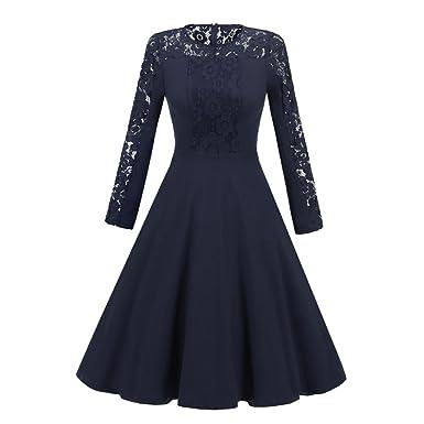 Damen Kleid Abendkleid Retro, ZIYOU Frau Spitzenkleider ...