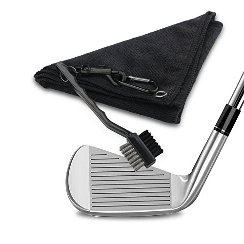 DROK 2pcs 16″x 16″Superfine Microfiber Golf Towel and Bass & Nylon 2-side Golf Brush, Black Sport Towel & Brush Golf Club Cleaner Set, Handy Golf Accessories for Golf Club Ball Cleaning by DROK (Image #2)