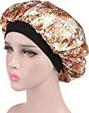 Ababalaya Womens 3pcs Soft Elastic Floral Leopard Silk Nightcap Hair Care Cap Chemo Beanie,D+E+J
