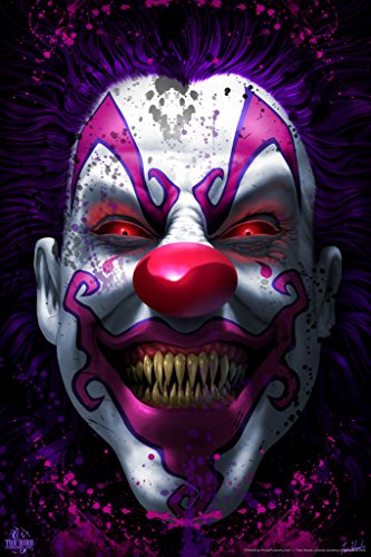 (Keep Smiling Scary Clown Horror Tom Wood Fantasy Art Poster 12x18 inch)