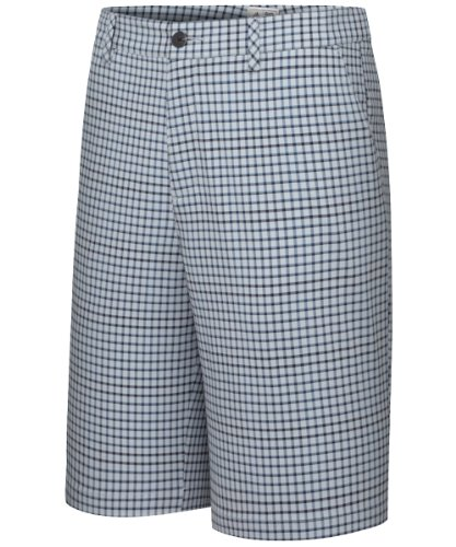 adidas Golf Men's Climalite Neutral Plaid Shorts, Chrome/Nautical/Navy, 32-Inch